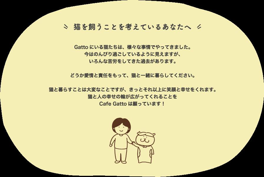 猫を飼うことを考えているあなたへ         Gattoにいる猫たちは、様々な事情でやってきました。         今はのんびり過ごしているように見えますが、         いろんな苦労をしてきた過去があります。          どうか愛情と責任をもって、猫と一緒に暮らしてください。          猫と暮らすことは大変なことですが、きっとそれ以上に笑顔と幸せをくれます。         猫と人の幸せの輪が広がってくれることを         Cafe Gattoは願っています!